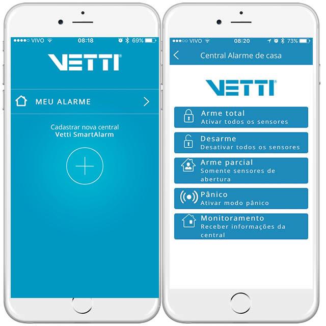 imagens do aplicativo vetti smart alarm